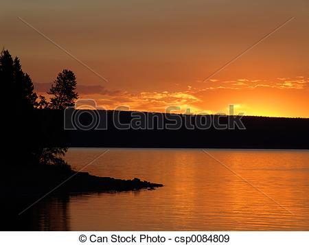 Stock Photographs of yellowstone lake sunrise.