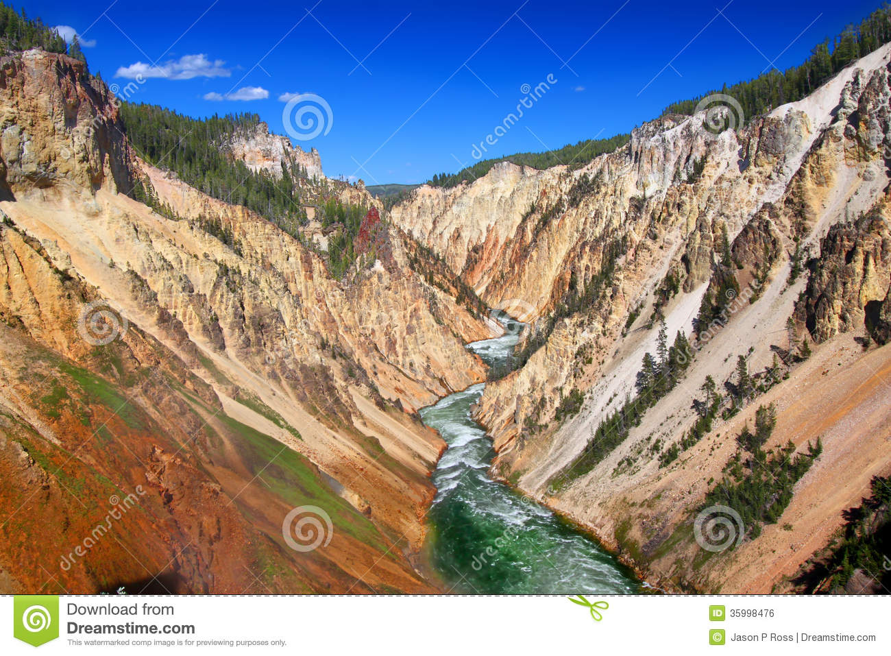 Grand Canyon Of The Yellowstone River Royalty Free Stock Image.