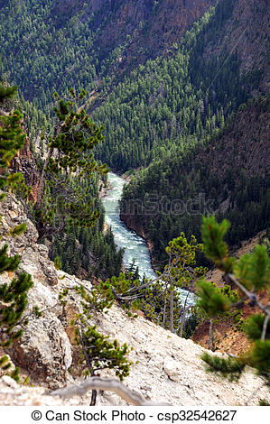 Stock Photo of Curving Yellowstone River travels through the Grand.
