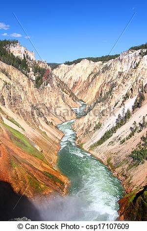 Stock Photography of Grand Canyon of the Yellowstone River on a.