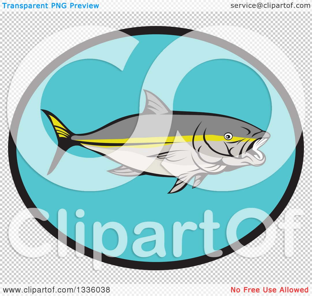 Clipart of a Yellowtail Kingfish in a Black and Blue Oval.