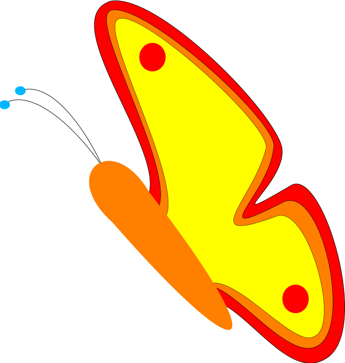 Yellowtail butterfly flying clipart.