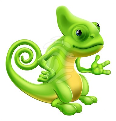 Clip art: Cartoon Chameleon.