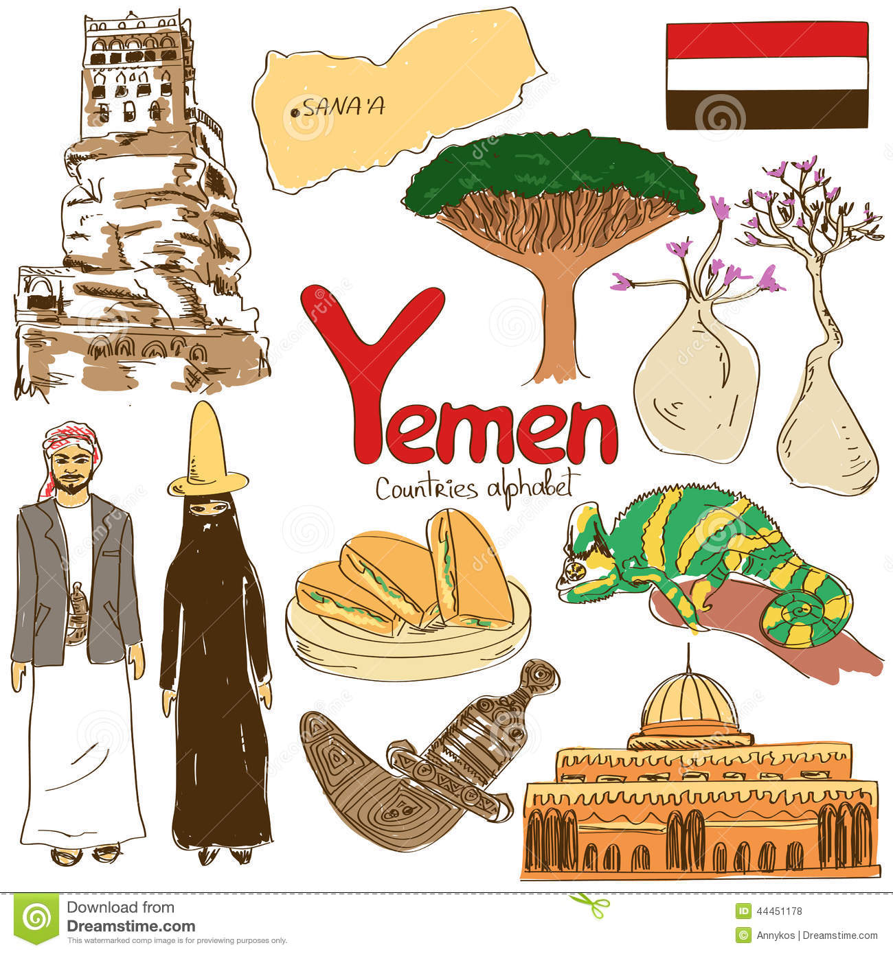 Yemen Map Vector, Yemen Flag Vector, Isolated Yemen Stock Vector.