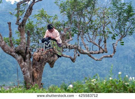 Yen Bai, Vietnam, April 23, 2016 Hmong Teenager, Sitting.