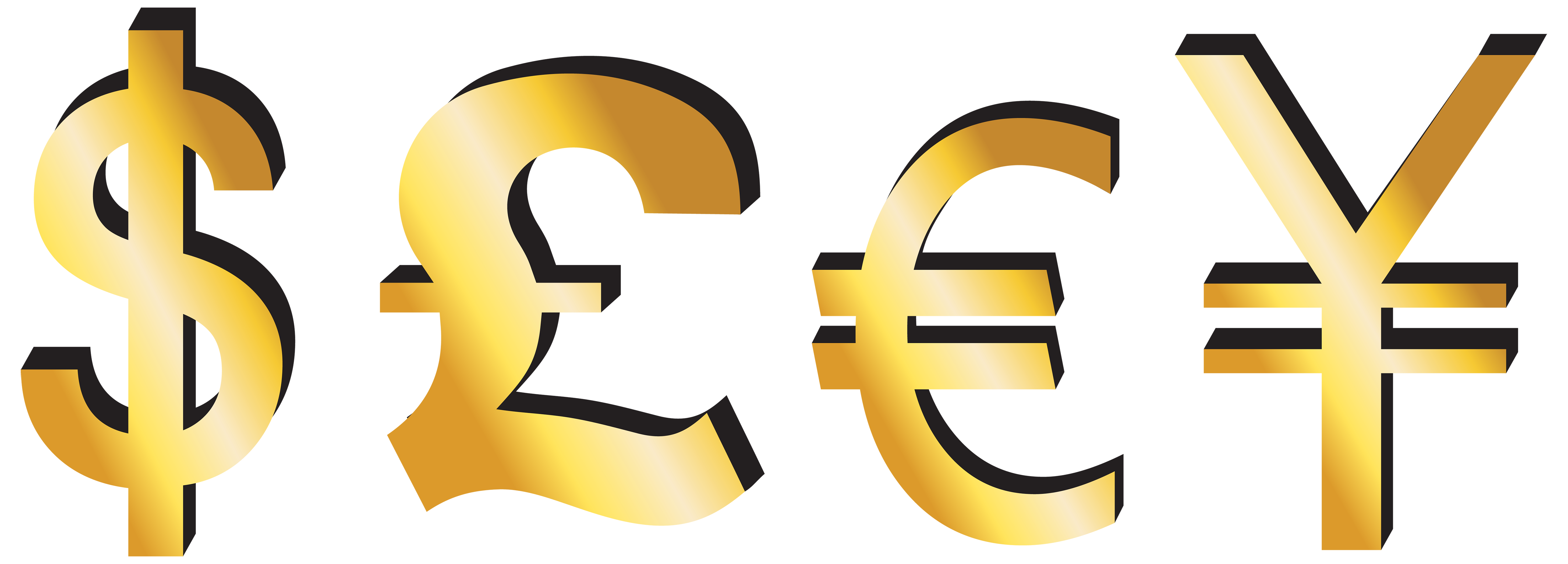 Dollar Pound Euro Yen Signs PNG Clipart.