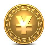 Clipart of golden coin with yen sign k8414041.
