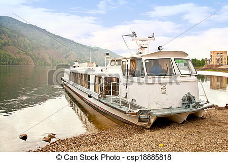 Stock Photography of Water transport on the river Yenisei.