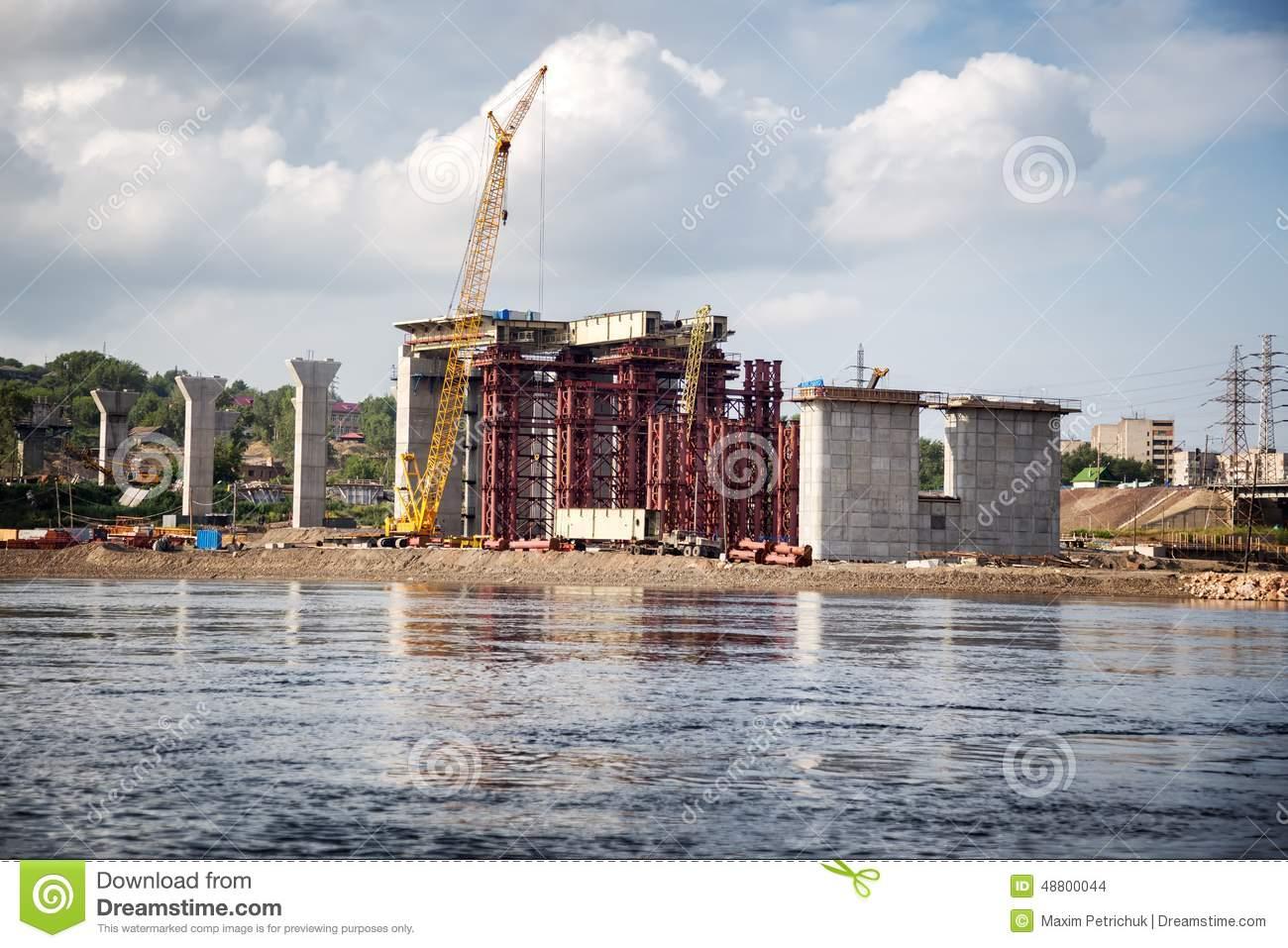 Bridge Building Through Yenisei Royalty Free Stock Photography.