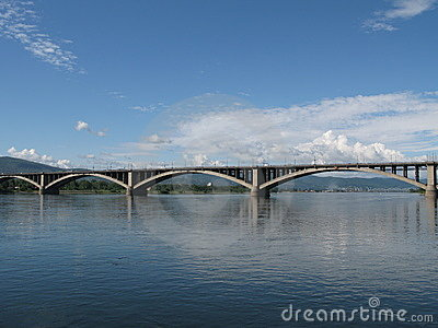 Bridge Over Yenisei River Royalty Free Stock Photo.