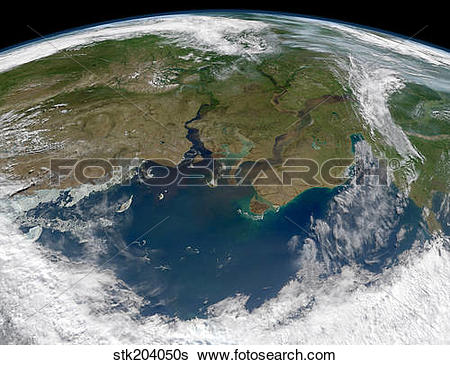 Stock Images of Satellite view of the Ob and Yenisei rivers as.