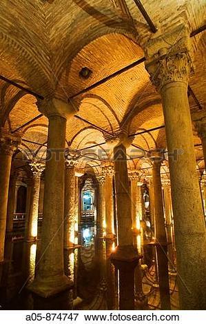 Picture of Columns, Basilica Cistern (Yerebatan Sarayi), Istanbul.
