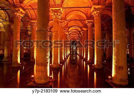 Stock Photograph of Interior of the ancient roman Basilica Cistern.