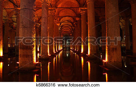 Stock Images of The Basilica Cistern (turkish Yerebatan Sarnici.