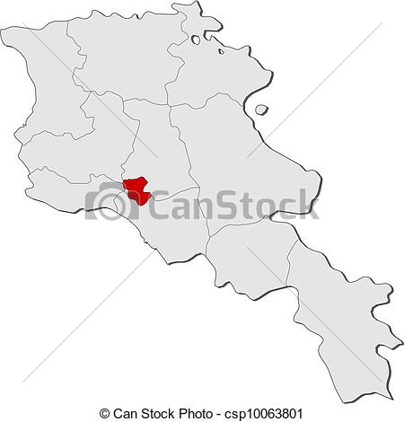 Vector Clipart of Map of Armenia, Yerevan highlighted.