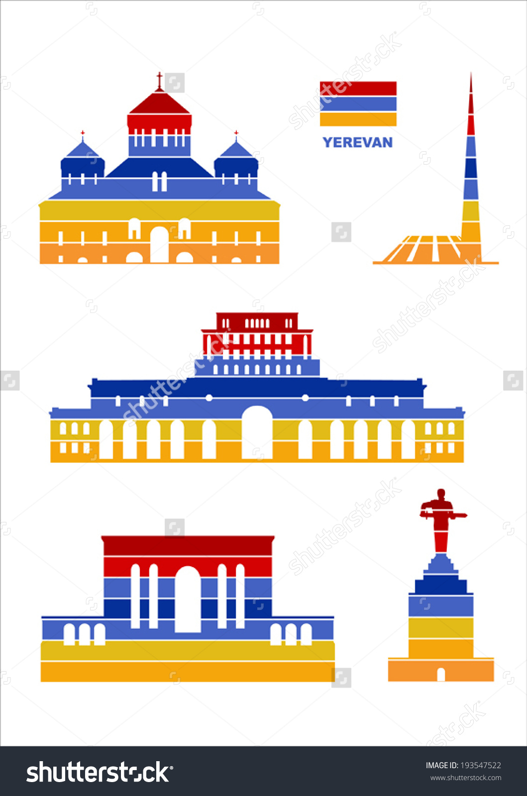 Vector Graphic Symbols Yerevan Stock Vector 193547522.