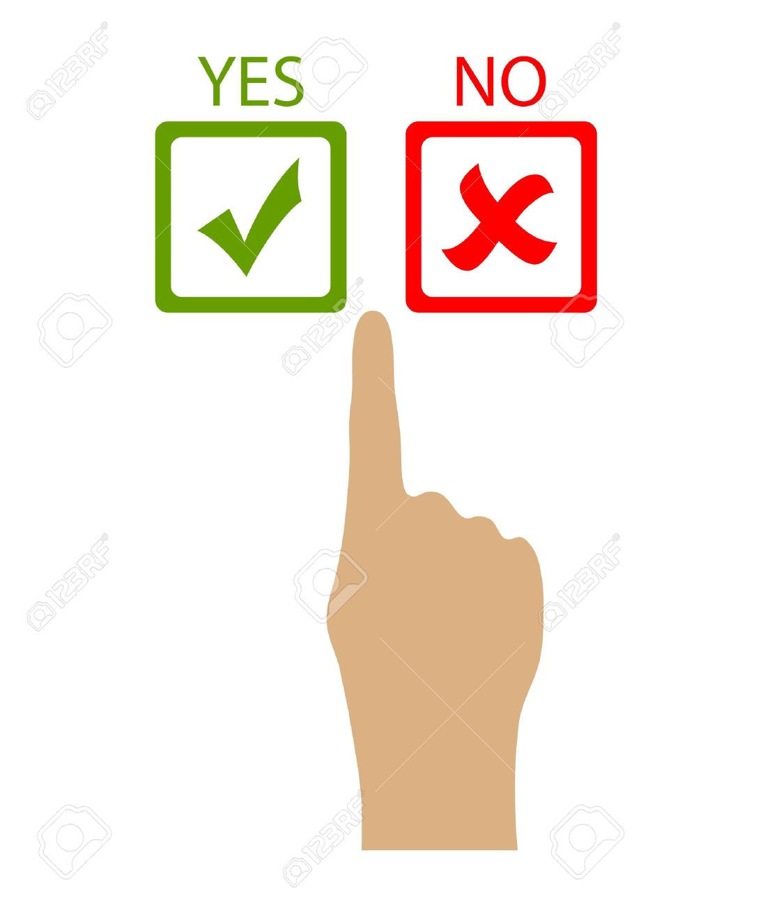 Choose yes or no, vector clip art.
