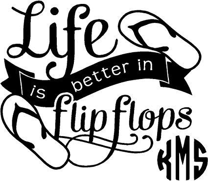 Amazon.com: Yeti cup Life is better Sandals Monogram Sticker.