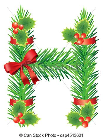 Vector Clip Art of ?hristmas Letter H.