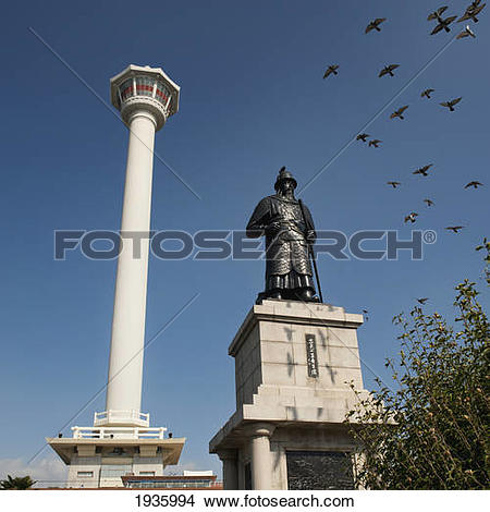 Stock Photo of Busan Tower And Statue Of Admiral Yi Sun.