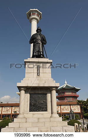 Stock Image of Busan Tower And Statue Of Admiral Yi Sun.