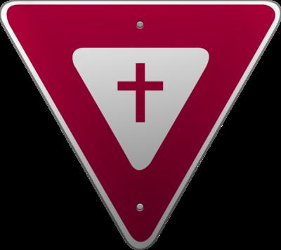 Image: Yield Sign Cross Image.