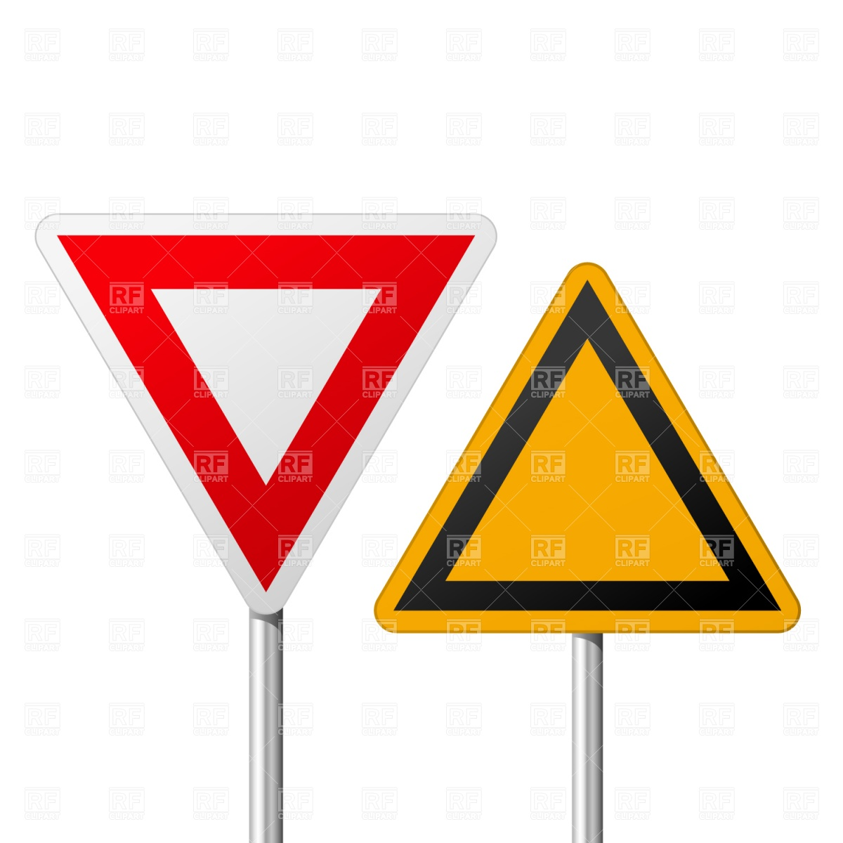 Blank road yield signs Vector Image #1503.