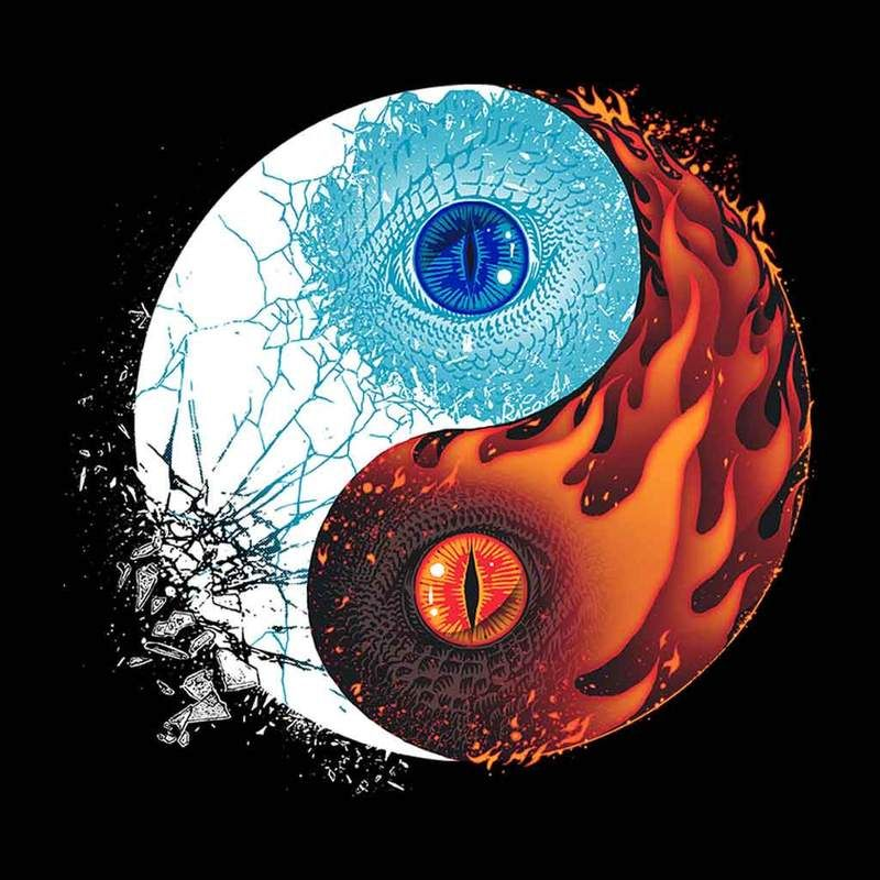 Ice And Fire Dragons Yin Yang Game Of Thrones Men\'s T.