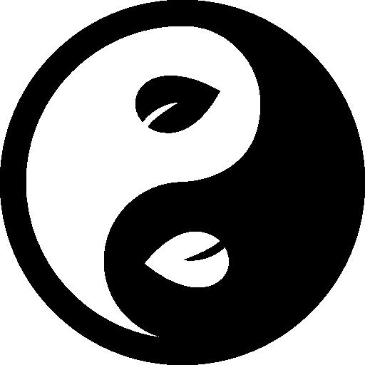 Yin Yang Leaf Symbol.