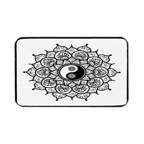 Amazon.com : Ying Yang Office Mouse Pad, Retro Floral Yin.