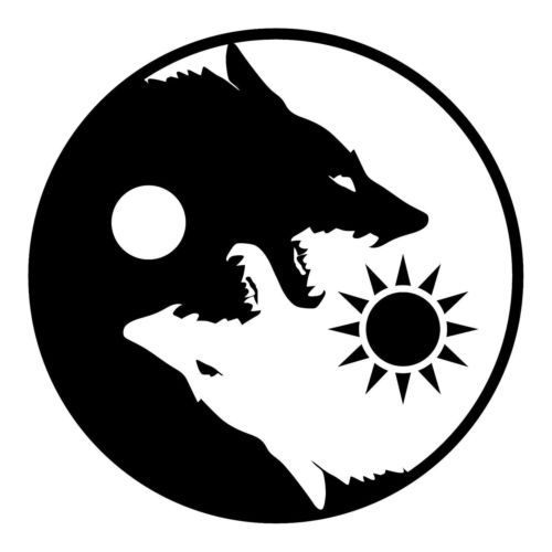 Details about YIN YANG WOLVES FLAG BANNER POSTER 4\' X 4.