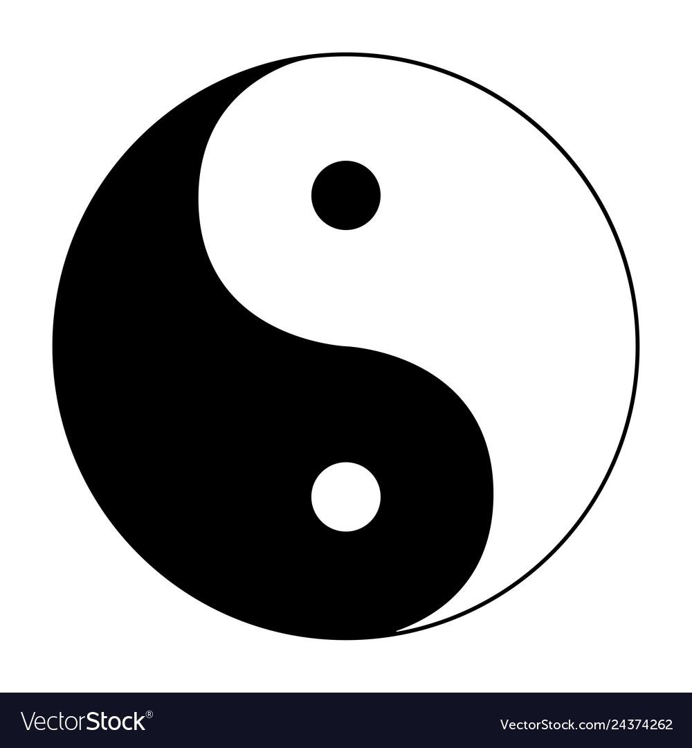 Ying yang symbol of harmony and balance on white.