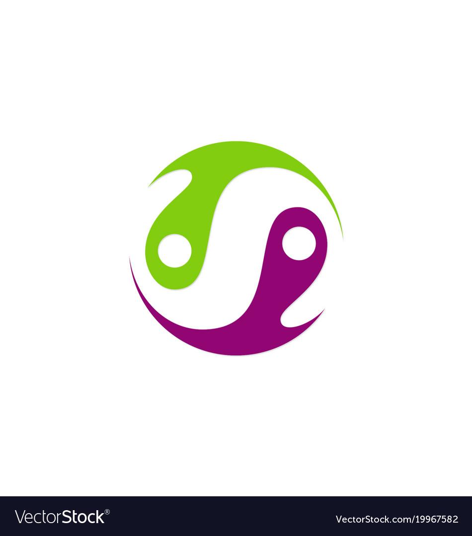 Circle balance yin yang abstract logo.