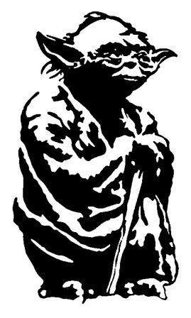 Yoda Black And White Outline.