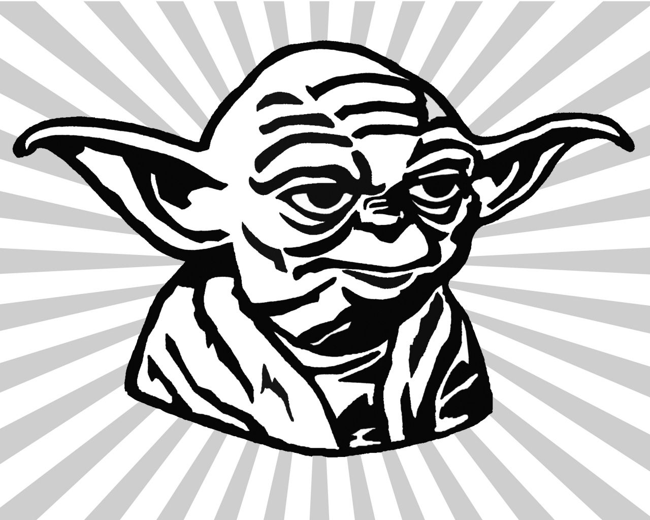 Yoda Black And White Clipart.