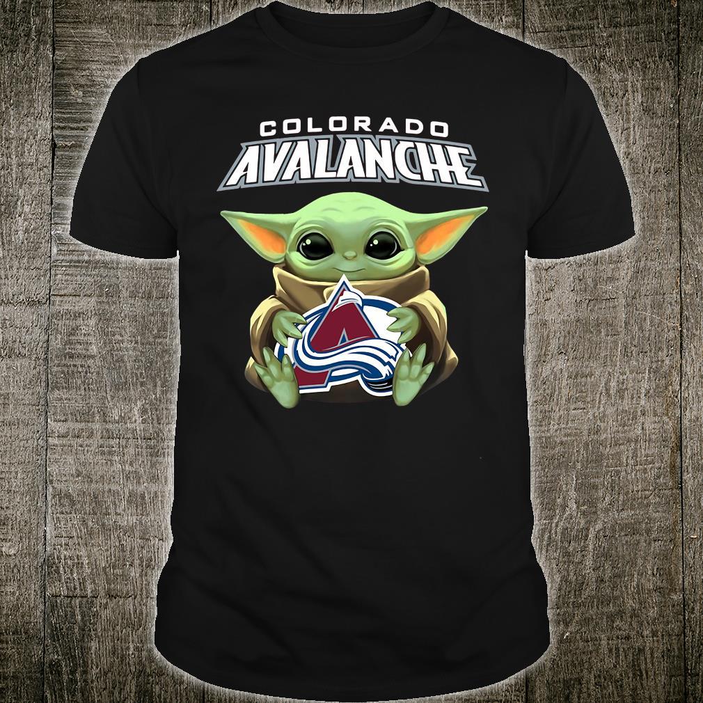 Baby Yoda hug Colorado Avalanche logo shirt.