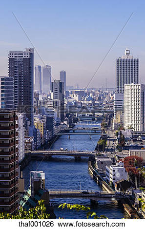 Stock Images of Japan, Osaka, Nakanoshima district, cityscape with.