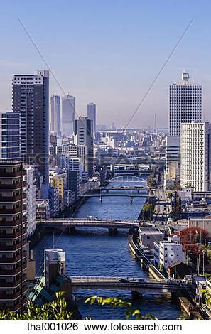 Stock Images of Japan, Osaka, Nakanoshima district, cityscape with.