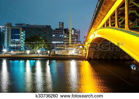 Stock Photography of Bridge and buildings along Yodo river.