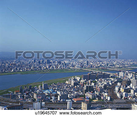 Picture of Yodo river and Osaka town u19645707.