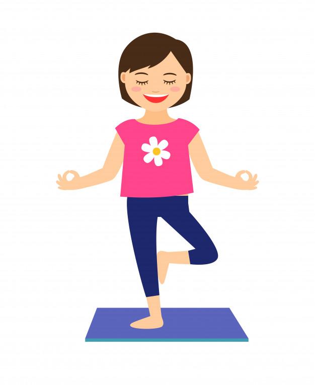 Yoga kids vector illustration. young girl in yoga pose.