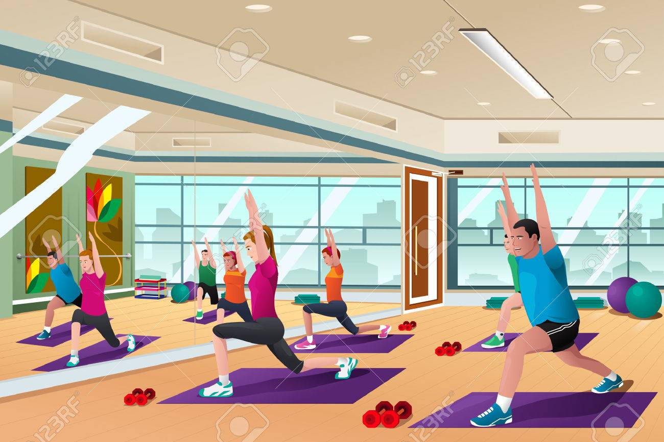 A vector illustration of men and women in a yoga class.