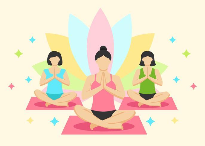 Women Yoga Class Vector.
