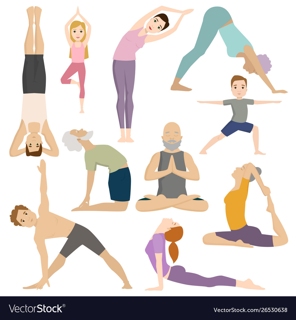 People work out in fitness club yoga classes.