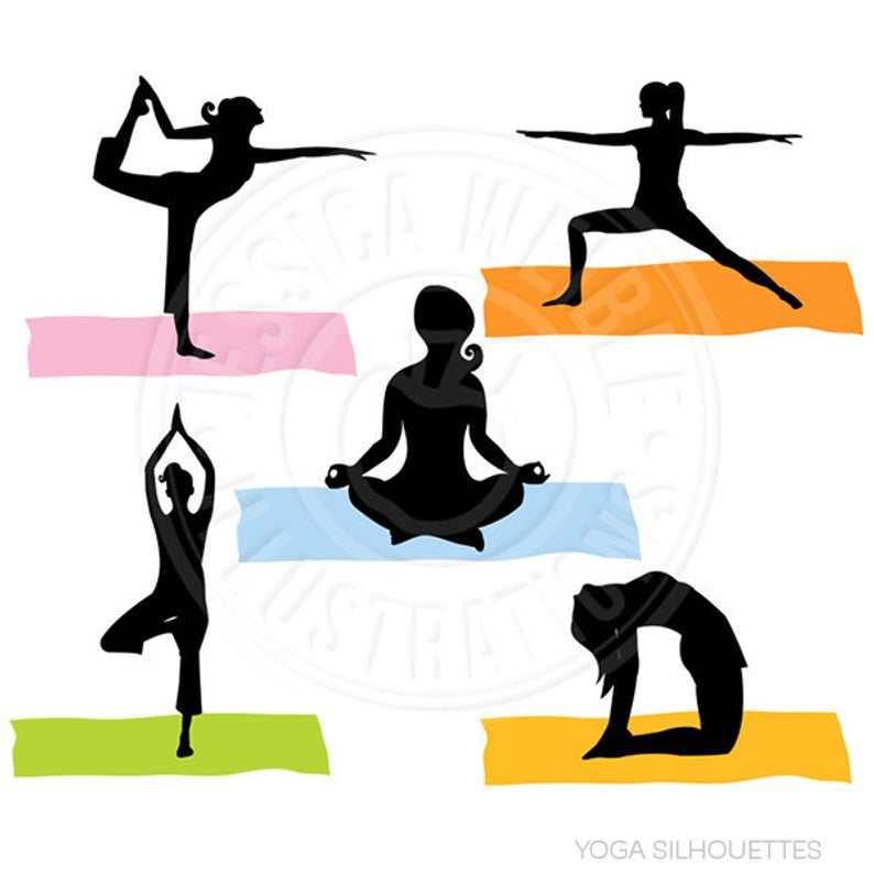 Yoga Silhouettes Digital Clipart.