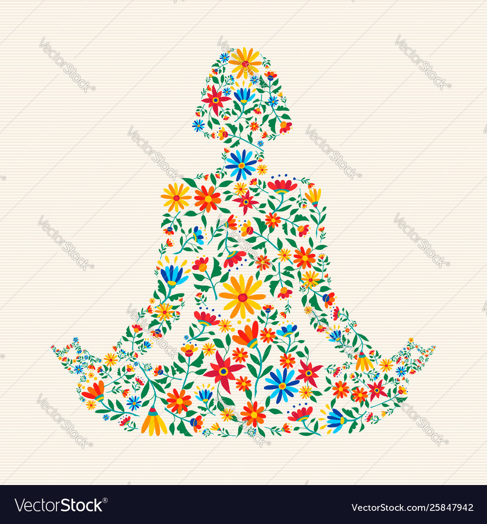 Yoga meditation pose made colorful flowers.