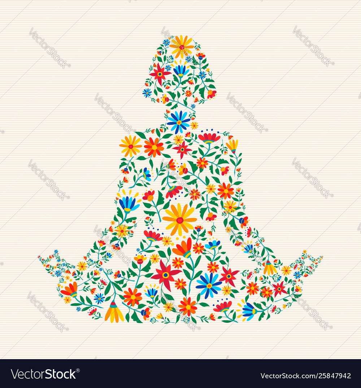 Yoga meditation pose made colorful flowers.