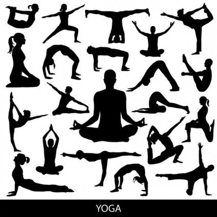 yoga silhouette 03 vector.
