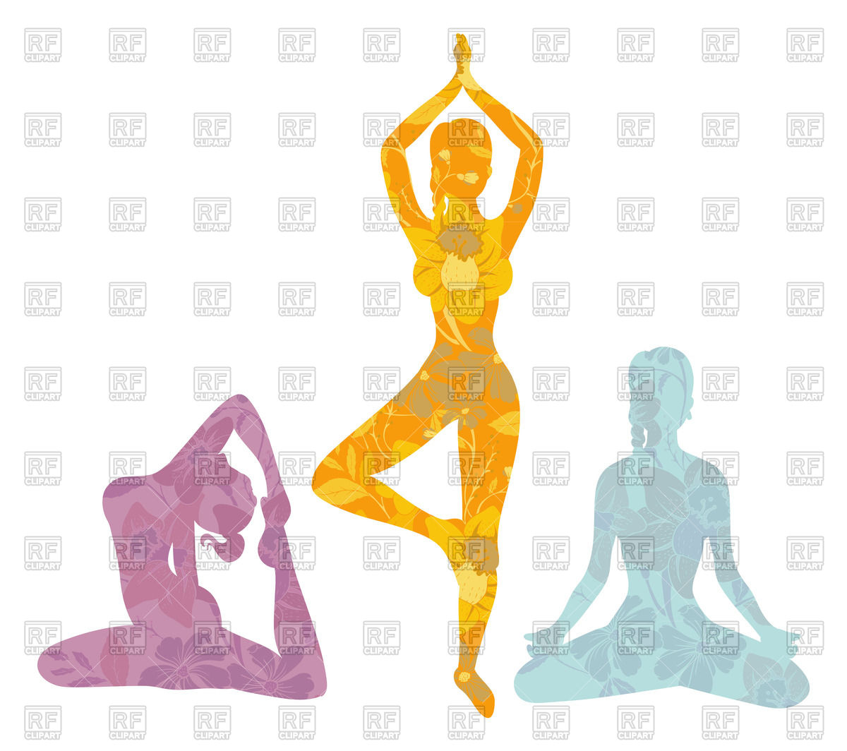 Women silhouettes in yoga poses Stock Vector Image.