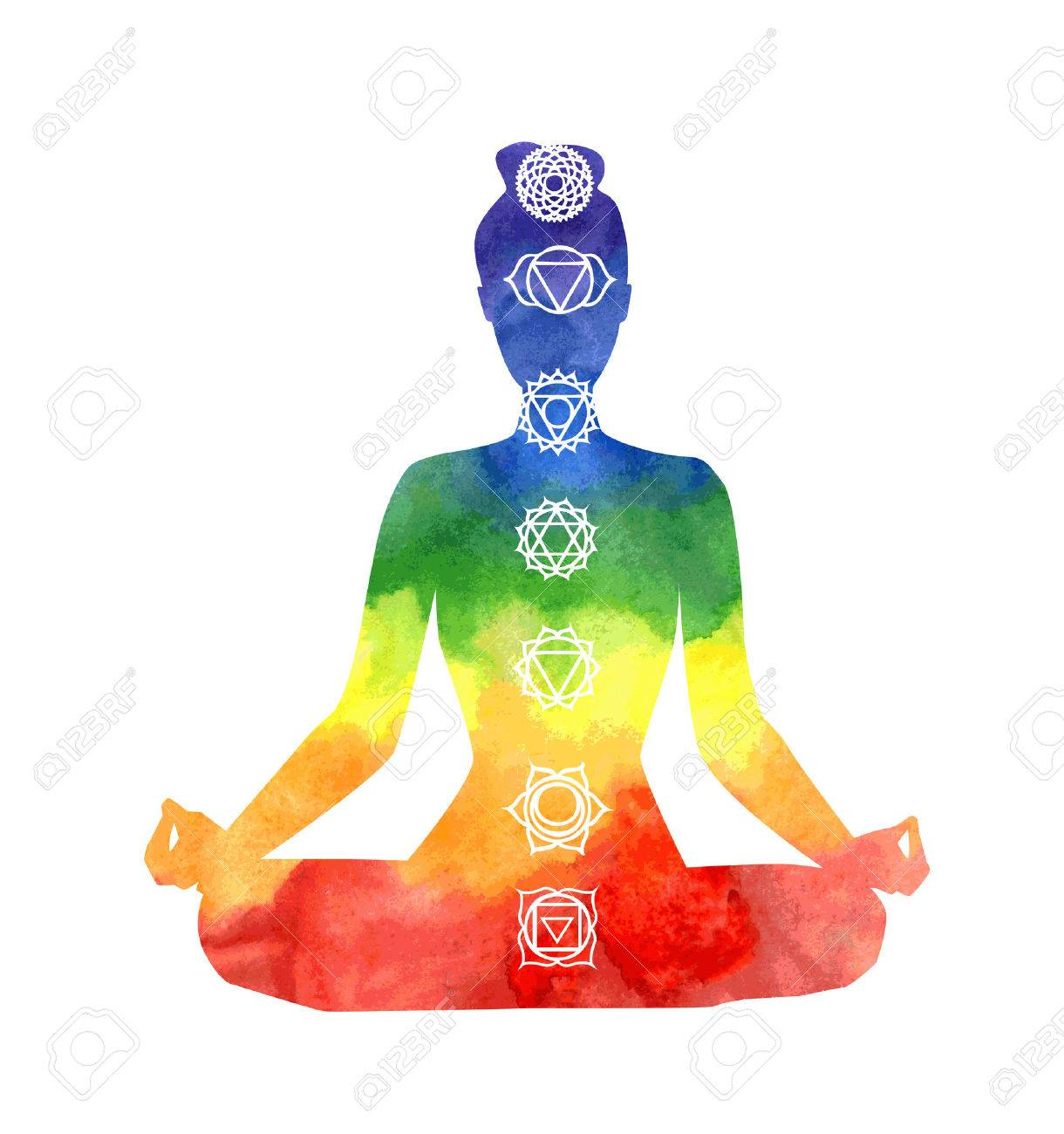 Vector silhouette of yoga woman with chakra symbols. Bright watercolor...